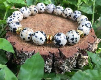 Priscilla Bracelet- Dalmatian Jasper(10mm) & Gold Nugget- black and beige- boho beaded bracelet - 22k gold plated - OliverGreyJewelry