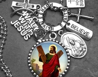 St. Andrew Picture Pendant Catholic Holy Medal & Charm Necklace Catholic Jewelry, Devotional Jewelry, Faith, Believe, Pray