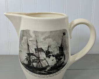 Vintage War of 1812 Commerative Transferware Ceramic Water Pitcher, Arms of the United States, Made in the USA, Americana Decor