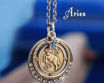 Aries Necklace, Zodiac Jewelry, Aries Jewelry, Zodiac Pendant, Astrology Jewelry, Birthday Necklace, Birthday Gift, Horoscope N1244-AR