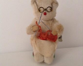 Vintage 1960's Mechanical Knitting Bear