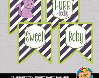 Kitten Baby Shower. Purr-fectly Sweet Baby Banner. *INSTANT DOWNLOAD*