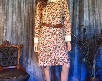 1960s Vintage Dress / 60s Brown Floral Dress / Peter Pan Collar / Tatted Lace Trim