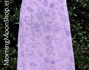BOHO Hippie Dress, VINTAGE 70s, Lavender Purple & White, Bohemian Festival Maxi,  India Rayon Gauze Midi, flowers floral, Small, BEAUTIFUL