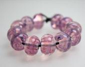 Pink Swirl Beads, Pink Beads, Transparent Pink Bead Sets, Pink Lampwork Beads, Pink Swirl Beads, Lampwork, Kathy Bankston, Lampwork Beads