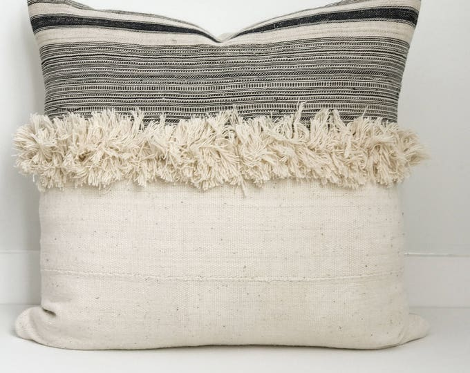 Pillow Cover, Ethnic, Handwoven, Mudcloth, Off White, Fringe, Boho Pillow