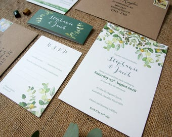 1 x Eucalyptus Stems Wedding Invitation bundle /RSVP with brown kraft envelopes Sample