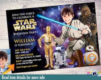 Star Wars Birthday Invitation. Turn your kid into a Jedi with BB-8, R2-D2, C-3PO & Chewbacca. Jedi Invitation. Star Wars Party Ideas. 018