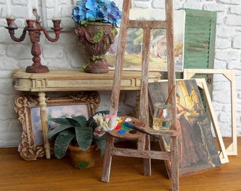 Miniature easel wooden, Shabby ivory, accessory painter's Studio, decorating furniture for Dollhouse 1:12 scale