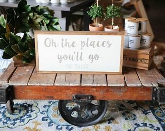 1'X2' Oh The Places You'll Go Dr. Seuss Framed Wood Sign Nursery Decor