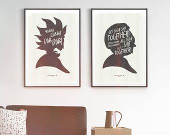 R&M Quote Poster Set. Funny Minimalist Art Prints