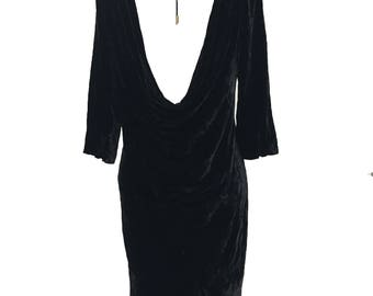 Vintage Juicy Couture Black Velvet Backless Dress Size Small