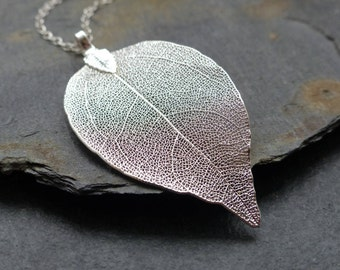Real leaf necklace, silver dipped leaf, dainty sterling silver chain, natural woodland jewelry