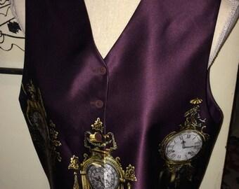 VINTAGE EMANUEL UNGARO 100% Silk Vest, Clock Print on Eggplant Purple Silk, Women's 44/10