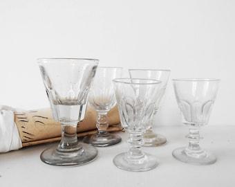 5 French Bistrot Glasses Antique Vine or Shot Glasses