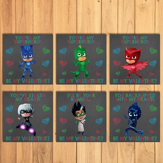 PJ Masks Valentine's Day Cards Chalkboard Set * PJ Masks School Valentines * PJ Masks Printable Valentines Cards - Pj Masks Party Favors