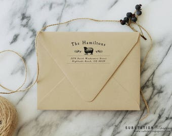 Custom Sheep Return Address Stamp - Vintage Sheep - Farm Stamp - Newlyweds - Save the Date - Wood Rubber Stamp - Animal Stamp - SHEEP