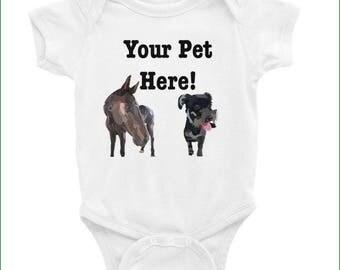 Baby Custom Onesie, Baby Clothes, Custom Pet Art, Infant Bodysuit, Cute Baby Onesie, Baby's First Pet, Graphic Design