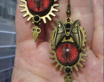 Red Dragon Eyes & Wings; Steampunk Inspired Earrings