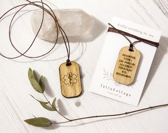 Medical ID Necklace in Oak, Personalised Medical ID, Custom Medical ID Necklace, Wooden Medical Alert Necklace, Medical Id Tag