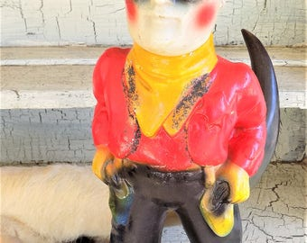 "Lone Ranger Chalkware Figurine, 1940s Carnival Prize, 15"" Tall Cowboy Figure, Western Decor"