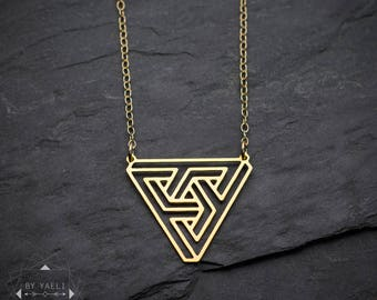 Triangle necklace, geometric  sacred necklace, escher illusion geometric triangle, penrose jewelry.
