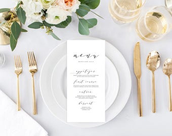 Modern Menu Printable, Printable Wedding Menu, Bridal Shower Menu Card, Printable Baby Shower Menu, Customized Menu Card, Printable Menu