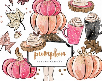 Pumpkin Clip Art | Hand Drawn Autumn leaves Fashion Illustrated Girl Fall Graphics | Planner Stickers, Planner Girl | Digital Cliparts