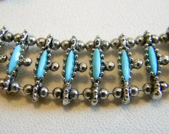 Silver Turquoise Look Chain Bracelet