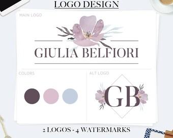 Purple flower logo, elegant logo, feminine logo, business logo design, branding kit, premade branding package, watercolor logo, photography