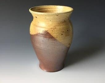 Wood fired stoneware vase