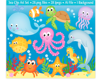 Sea Animals Clip Art,Under The Sea Clipart,Sea Clip Art,Sea Creatures Clipart,Ocean Clipart,Cute Sea Animals,Scrapbooking,Commercial Use