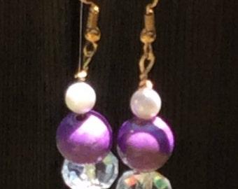 Crystal Purple Nickel Free Earrings