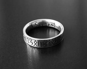 custom handmade viking silver or gold wedding bands and runic rings - Norse Wedding Rings
