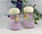 Salt & Pepper Lilac Frosted Glass w/ Tulips Gold Leaves - Vintage Stove Top Shakers