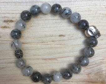 Gemstone skull bracelet rutilated quartz