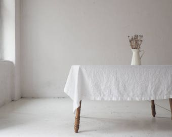 Pure white linen TABLECLOTH. Washed table cloth made of European linen. Handmade.
