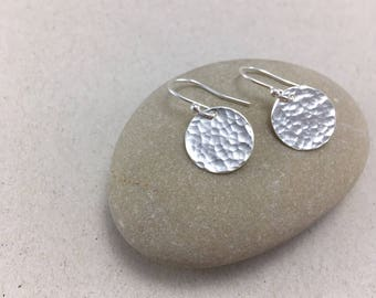 Hammered Silver Circle Earrings, Hammered Silver Dangle Earrings, Handmade Silver Pebble Earrings, Silver Dangle Earrings