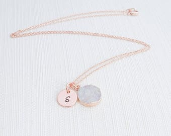 Rose Gold Druzy and Initial Necklace,  Neutral coloured Druzy, Bridesmaid Necklace, Christmas gift for her