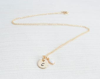 Gold Initial and Opal Necklace , Disc Necklace, Hand Stamped on Disc, Personalised Jewellery, Rose Gold Plated Necklace, gift idea