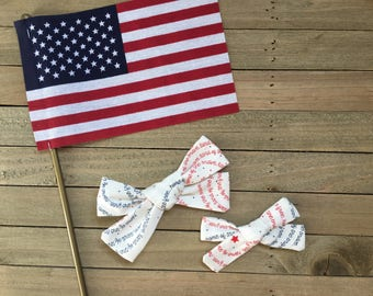 Liberty Collection \\ The Lydia Bow // in Land of the Free, Fourth of July Bow, Hand-Tied School Girl Bow, Oversized School Girl Bow