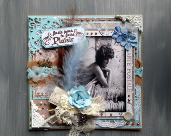 Woman (birthday, anniversary, thinking), handmade, 3D card, shabby chic size easel, woman Vintage beauty theme.
