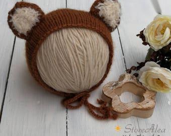 Bear Bonnet size newborn - 6/12 months newborn Photography props