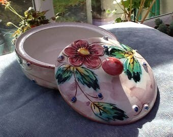 Italian bowl, vintage majolica, hand coloured, majolica ware, collectors piece,   round bowl, flower bowl