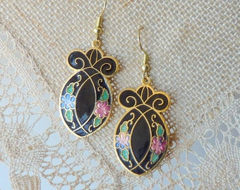 Vintage Cloisonne  Earrings Flower Dangle Pierced Earrings  MINT Floral Retro Gold Cloisonne 70's Jewelry, Costume Jewelry Cloisonne Jewelry