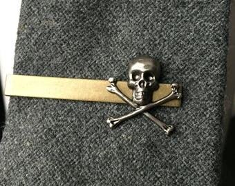 Skull and Crossbones Jewelry - Skull Tie Clip - Tie Clip - Skull Jewelry  - Mens Accessories - Tie Clips Men - Pirate