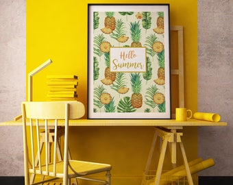 Poster | Illustrated Poster | Wall Decor | Minimal Print Poster | Home Decor | Poster Design | Postcard | Summer | Pineapple  | Hello Summer