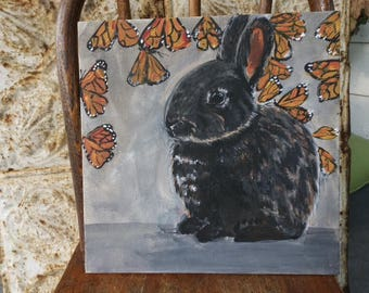 Monarch butterflies and rabbit, bunny, painting 10x10 original on canvas panel
