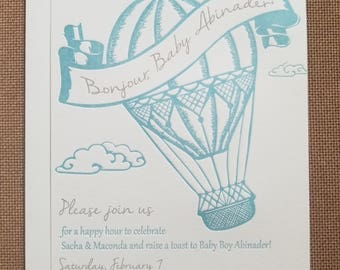 Letterpressed Hot Air Balloon Card - ready for digital print