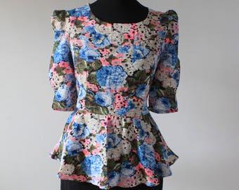 1980s Party PROM Dress, 80s PEPLUM Wiggle Dress, 1980s VINTAGE Floral Dress, Neon Highlights, Dallas Dynasty Style, uk 12 Medium M